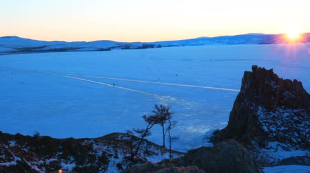 Sunset over Lake Baikal in Russia in winter Stok Video