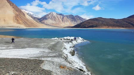 View of Pangong Lake with frozen water in Ladakh, Kashmir, India