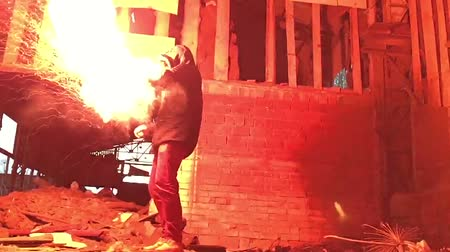 Man hold red flare in hand. Help signal. slow motion