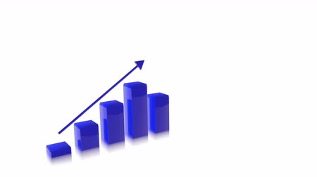 artış : 4k Three Dimensional Growing Business Bar Chart Animation, Blue Color