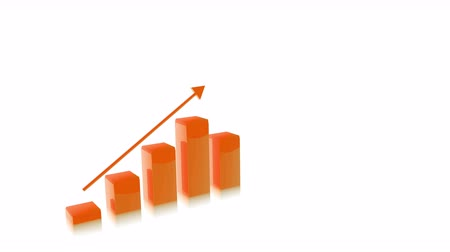lucros : 4k Three Dimensional Growing Business Bar Chart Animation, Orange Color Stock Footage