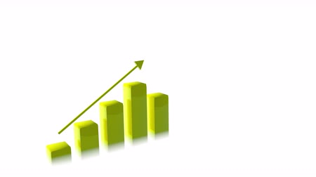 strzałki : 4k Three Dimensional Growing Business Bar Chart Animation, Yellow Color