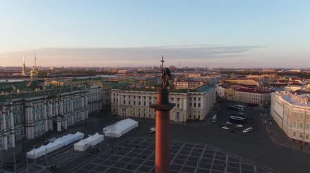 alexander column : Flight over the Palace Square in Saint Petersburg