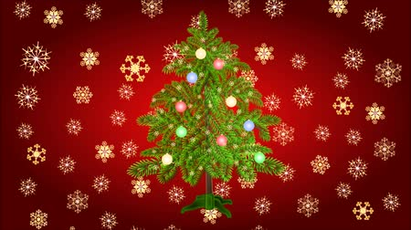 рождественская елка : Animation of illustration seamless loop Christmas tree with baubles and gold  snowflakes video