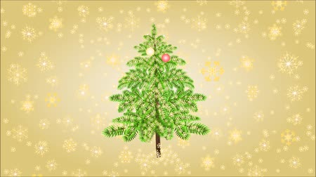 video loop : Animation of illustration seamless loop Merry Christmas inscriptions with fireworks and gold snowflakes video