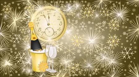 arife : Animation of illustration Happy New Year background with clock video Stok Video