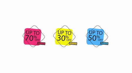 Sale Banner Price Discount Motion Graphics Animation Label Set. Sale 30 , 50 , 70 OFF. Red Price Tag Special Offer Promo Campaign Animation Sticker on white background.