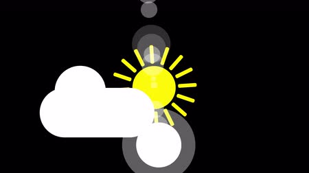 Sunshine and cloud icon animation with black background. Animation with Alpha transparent background for easy use in your video Format: QuikTime. Channels: RGB Alpha. Video Codec:  ProRes 4444. Depth: Millions of Colors . Icon design. Video Animation. Bri Stok Video