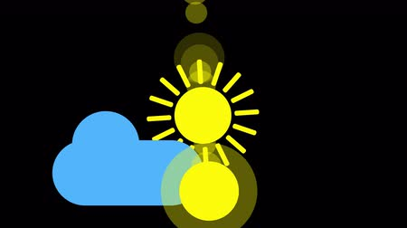 Sunshine and cloud icon animation with black background. Animation with Alpha transparent background for easy use in your video Format: QuikTime. Channels: RGB Alpha. Video Codec: Apple ProRes 4444. Depth: Millions of Colors . Icon design. Video Animation