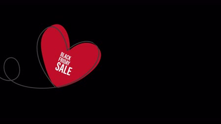 Black Friday Sale with glitch Heart shaped balloon in continuous drawing lines in a flat style in continuous drawing lines. Animation with Alpha (transparent background) for easy use in your video. Continuous black line. The work of flat design. Symbol of