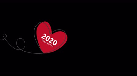 d day : Happy New Year 2020 with Heart shaped balloon in continuous drawing lines and glitch red heart in a flat style in continuous drawing lines. Animation with Alpha (transparent background) for easy use in your video. Continuous black line. The work of flat d Stock Footage