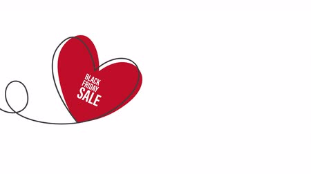 doğrusal : Black Friday Sale with glitch Heart shaped balloon in continuous drawing lines in a flat style in continuous drawing lines. Continuous black line. The work of flat design. Symbol of love and tenderness