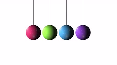rotação : Set Looping realistic animation of the Christmas and New Year multicolored Balls and text 2020. Rotating decoration on white background. Merry Christmas and a Happy New Year!