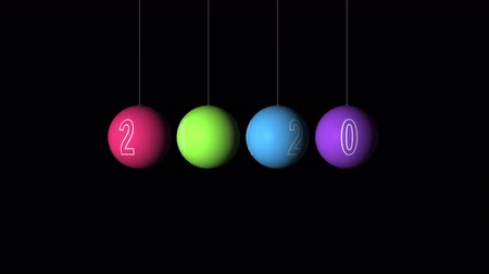 round ornament : Set Looping realistic animation of the Christmas and New Year multicolored Balls and text 2020. Rotating decoration on white background. Merry Christmas and a Happy New Year! Animation with Alpha (transparent background) for easy use in your video.