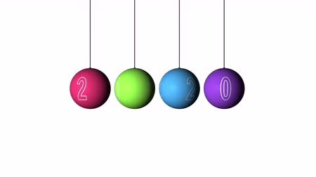 винты : Set Looping realistic animation of the Christmas and New Year multicolored Balls and text 2020. Rotating decoration on white background. Merry Christmas and a Happy New Year!