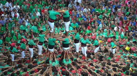 Tarragona, Spain. October 2018: Castells Performance in the XXVII Tarragona Human Tower Competition. A castell is a human tower built traditionally in festivals within Catalonia. 무비클립