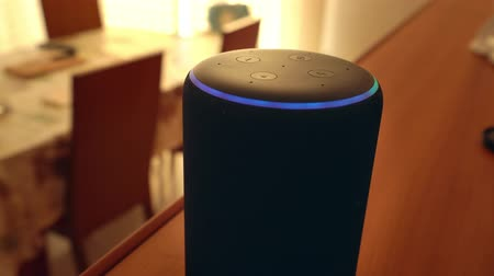 мегафон : Barcelona, Spain. January 2019: Hand adjusting the Amazon Echo Plus smart Home device Стоковые видеозаписи