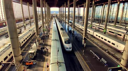 golyó : AVE High-speed train arriving at Madrid Puerta de Atocha Train station top view Stock mozgókép