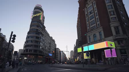 junho : Madrid, Spain. June 2019: Blue hour view on Gran Via street.