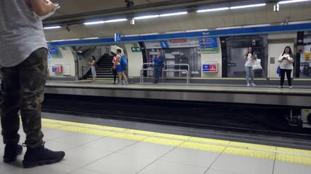 metropolitano : Madrid, Spain. July 2019: platform of a metro station in Madrid Stock Footage