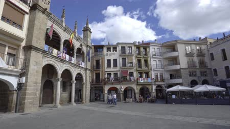 monumentális : Plasencia, Spain - April 2019: Main Square and Town Hall of Plasencia, Caceres province, Extremadura, Spain