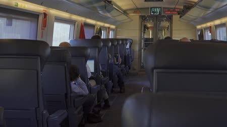 rapid transit : Inside a high speed train compartment Stock Footage