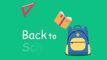 papírnictví : Animation Back To School big sale with different educational tools.4K video of school supplies flying into the backpack. Discount Concept.Perfect for retail marketing promotion and education related.