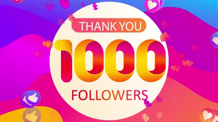 follower : Animation of the growth the number of followers of insta blogger.High resolution video of thanks for the new and old subscribers on wavy background with thumb up,hearts,likes.Grats in Social Networks. Stock Footage