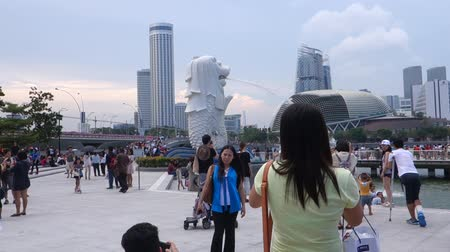 The Merlion fountain in Singapore. Merlion is a imaginary creature with the head of a lion,seen as a symbol of Singapore