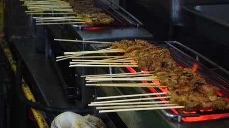 Grilled beef and chicken satay on stove street food