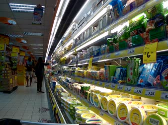 Dairy products in the market in Singapore.