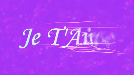 t'aime : I Love You text in French Je TAime formed from dust and turns to dust horizontally with moving stripes on purple animated background