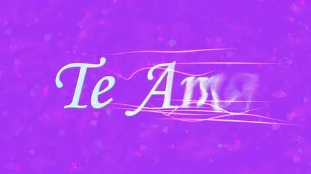 ambição : I Love You text in Portuguese and Spanish Te Amo formed from dust and turns to dust horizontally with moving stripes on purple animated background Stock Footage