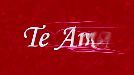ambição : I Love You text in Portuguese and Spanish Te Amo formed from dust and turns to dust horizontally with moving stripes on red animated background