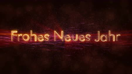 vybledlý : Happy New Year text in German Frohes Neues Jahr loop animation over dark background