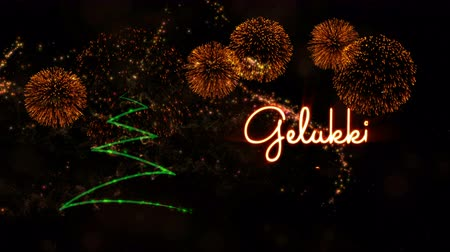 caligráfico : Happy New Year text in Dutch Gelukkig Nieuwjaar animation over pine tree with sparkling particles and fireworks on a snowy background Vídeos