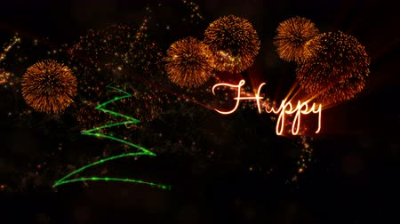 calligraphic : Happy New Year text animation over pine tree with sparkling particles and fireworks on a snowy background