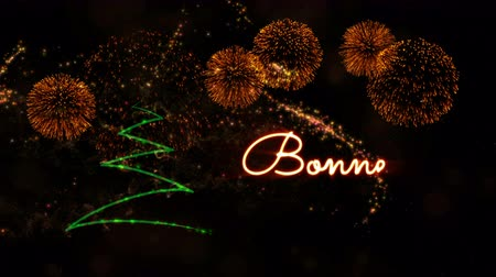 fade in : Happy New Year text in French Bonne Annee animation over pine tree with sparkling particles and fireworks on a snowy background Stock Footage