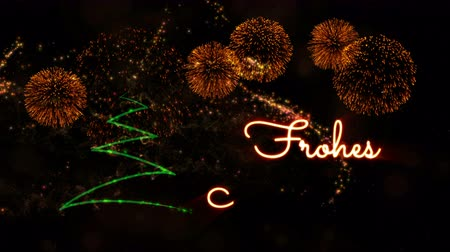 fade in : Happy New Year text in German Frohes Neues Jahr animation over pine tree with sparkling particles and fireworks on a snowy background