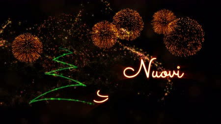 calligraphic : Happy New Year text in Italian Nuovi Anni Felici animation over pine tree with sparkling particles and fireworks on a snowy background Stock Footage