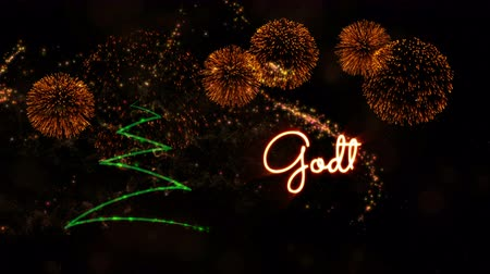 calligraphic : Happy New Year text in Norwegian Godt Nyttar animation over pine tree with sparkling particles and fireworks on a snowy background