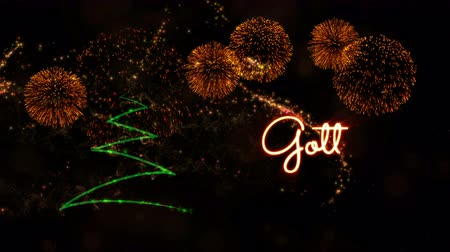 fade in : Happy New Year text in Swedish Gott Nytt Ar animation over pine tree with sparkling particles and fireworks on a snowy background Stock Footage