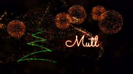fade in : Happy New Year text in Turkish Mutlu Yillar animation over pine tree with sparkling particles and fireworks on a snowy background