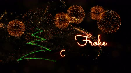 fade in : Merry Christmas text in German Frohe Weihnachten animation over pine tree with sparkling particles and fireworks on a snowy background