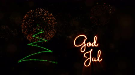 calligraphic : Merry Christmas text in Norwegian & Swedish God Jul animation over pine tree with sparkling particles and fireworks on a snowy background