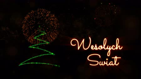 fade in : Merry Christmas text in Polish Wesolych Swiat animation over pine tree with sparkling particles and fireworks on a snowy background
