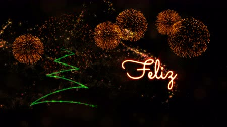 fade in : Merry Christmas text in Portuguese Feliz Natal animation over pine tree with sparkling particles and fireworks on a snowy background