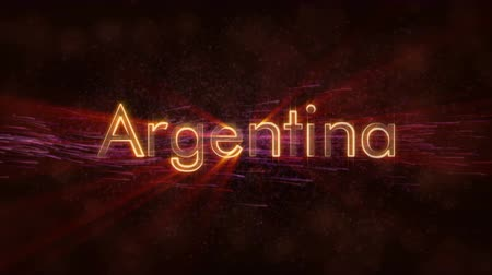country name : Argentina country name text animation - Shiny rays