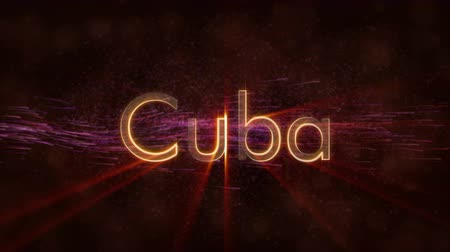キューバ : Cuba country name text animation - Shiny rays