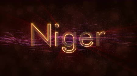 country name : Niger country text with text animation - Shiny rays Stock Footage